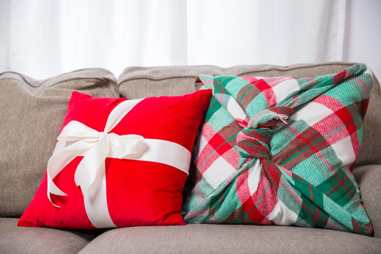 Festive Plaid Throw Pillows
